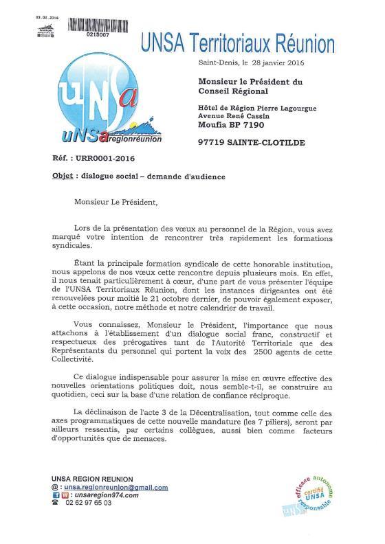 courrier URR001-2016 -  dialogue social - demande d'audience p1