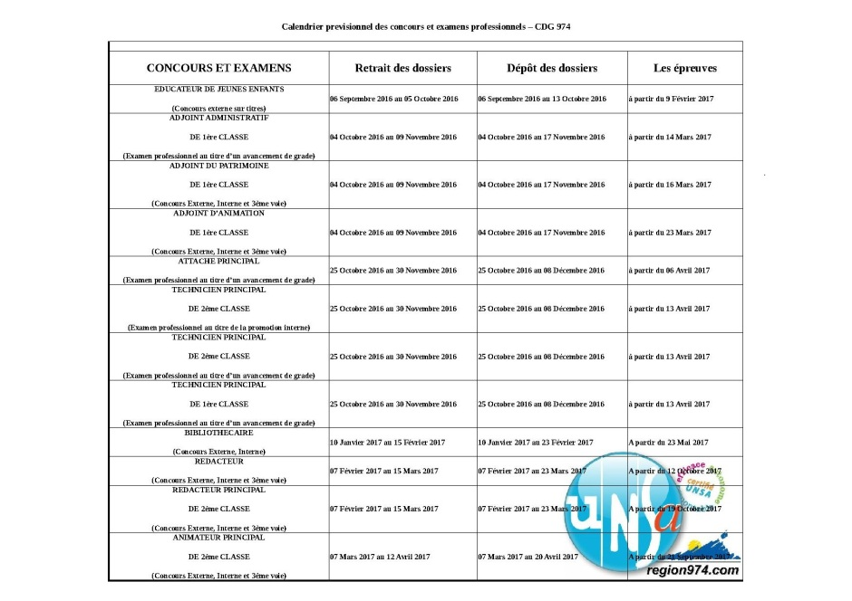 Calendrier concours et examens professionnels 20162017